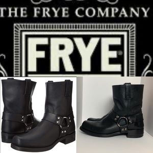 FRYE 8R LEATHER HARNESS BOOTS